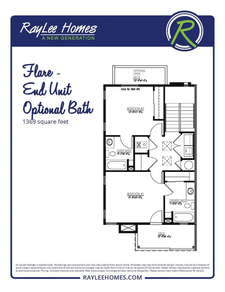 Flare End Unit Optional Bath RayLee Floorplan